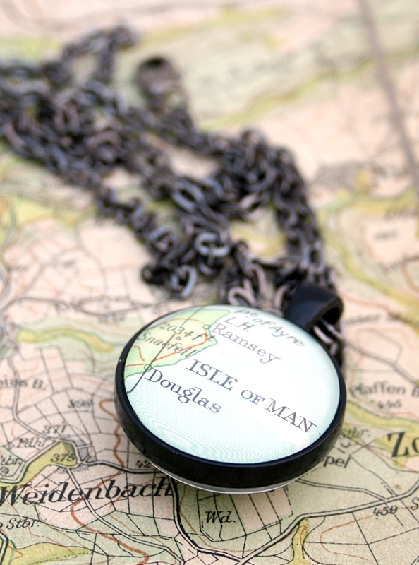 double sided black pendand necklace with custom map location / wanderlust jewellery
