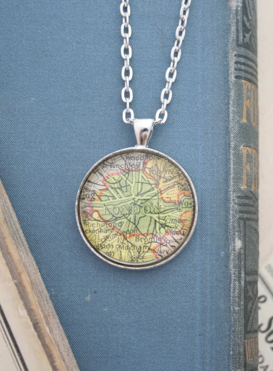 custom map jewellery / silver wanderlust necklace personalized necklace