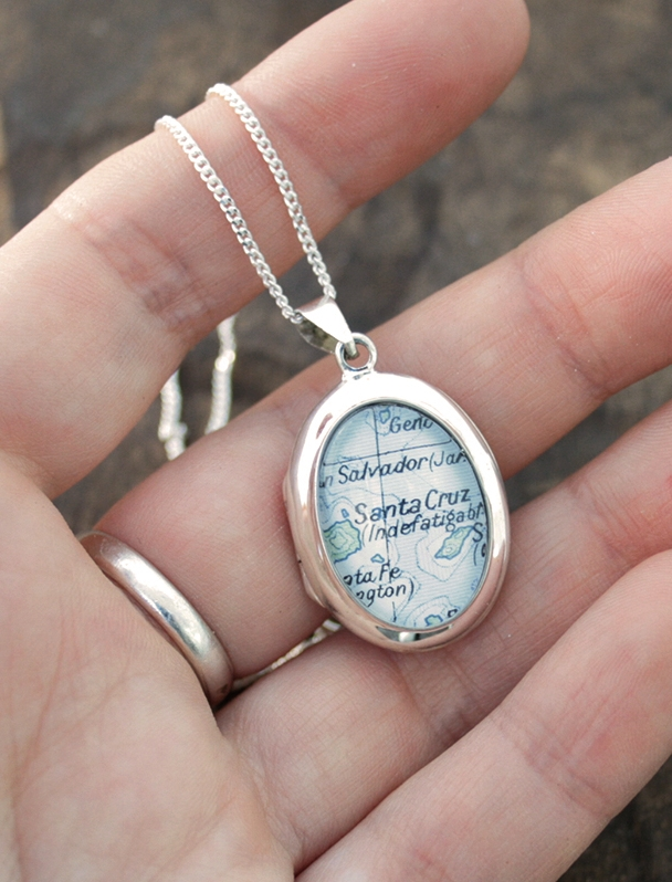 sterling silver locket necklace with custom map location / engagement gift