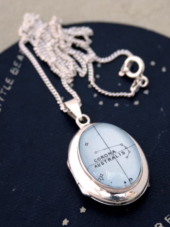 celestial locket necklace sterling silver / personalized with custom star constellation or zodiac
