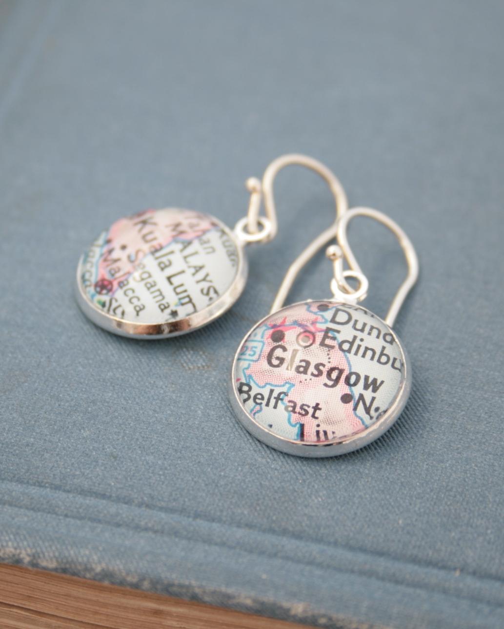 custom map dangle earrings in silver tone / wanderlust jewellery
