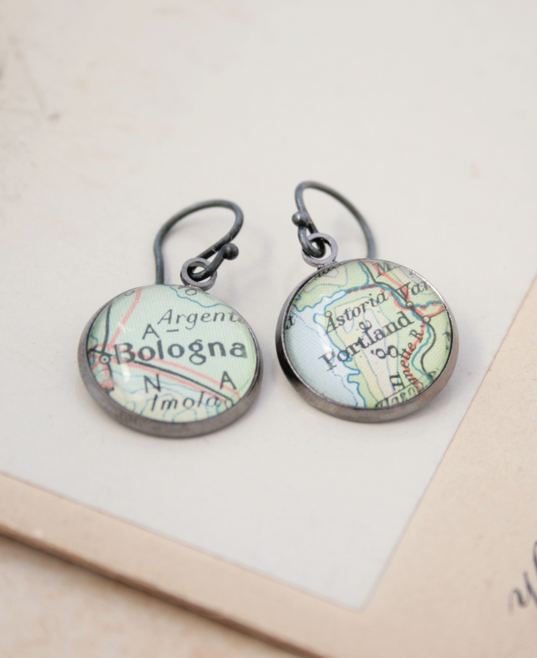 custom dangle earrings with world map locations / personalized gifts for daughter