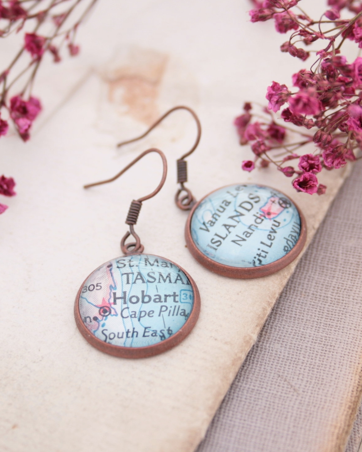 copper dangle earrings with ustom map locations / world map personalized wanderlust jewellery