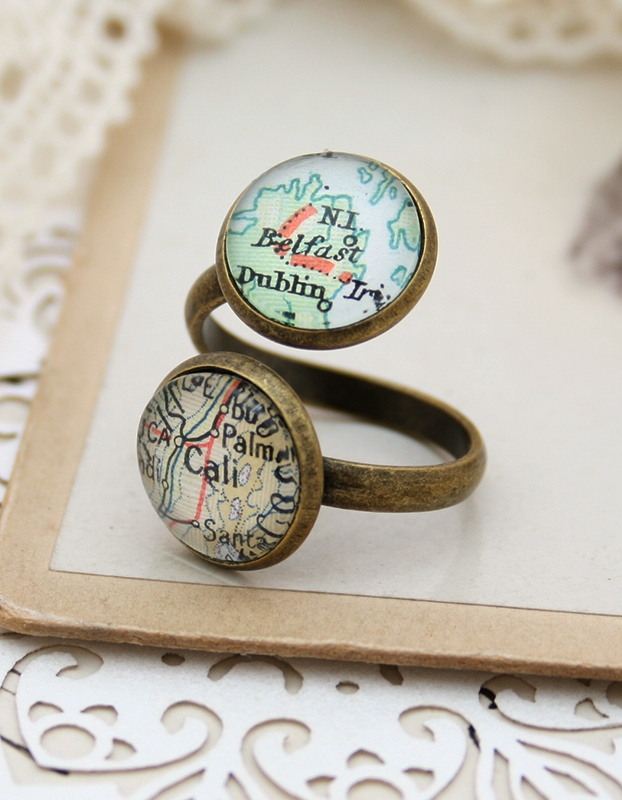 thumb ring with two custom map locations - bohemian wanderlust jewellery