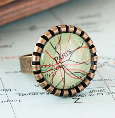 map ring / personailsed jewellery / sweet statement ring