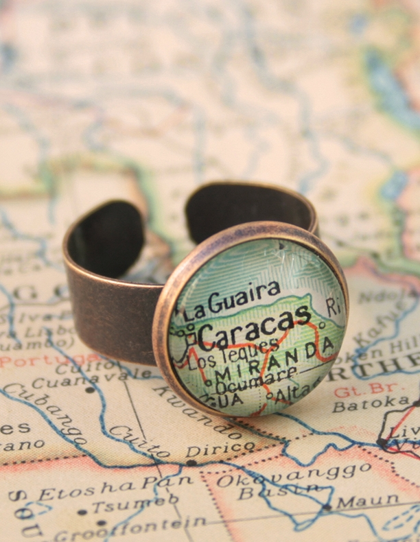 copper map ring / unisex ring with custom map location / world ap jewellery