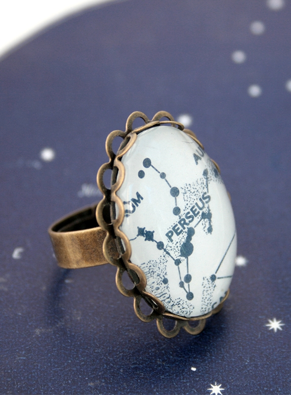 celestial ring with custom star constellation or zodiac sign