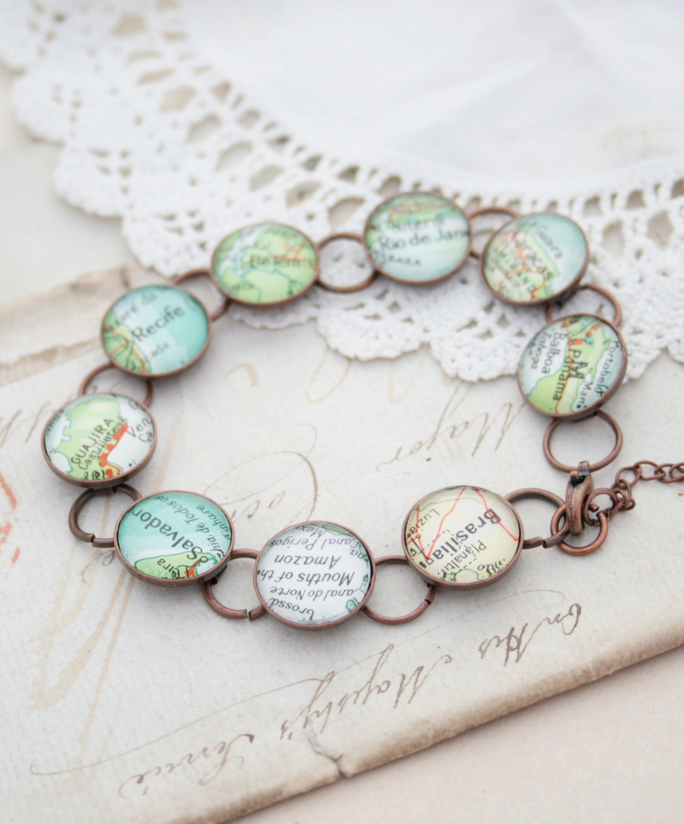 copper bracelet with map locations