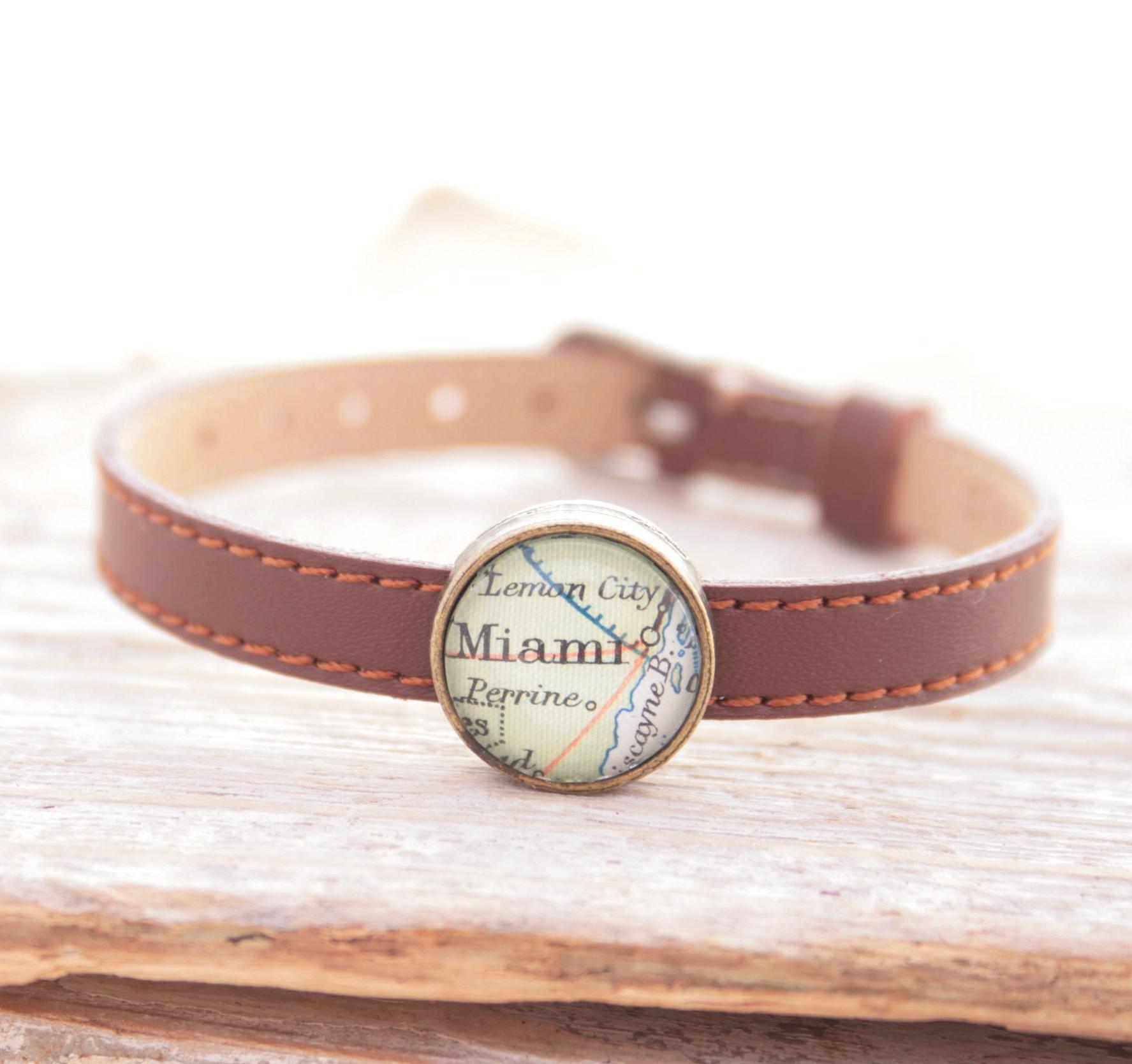 personalized map leather bracelet for woman / lovely wanderlust jewelry keepsake