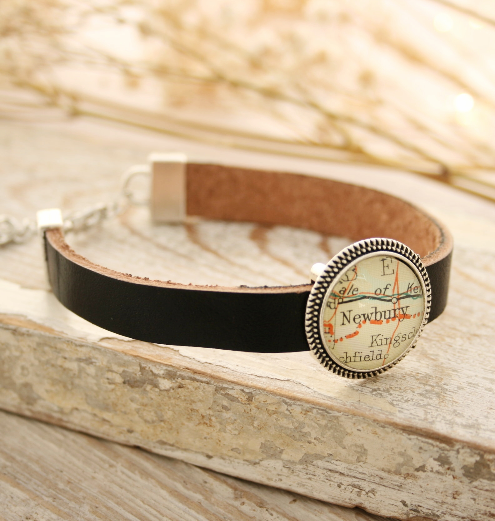 custom bracelet with map of your choice - everyone smiles when see a map of a place with sentiment attachment