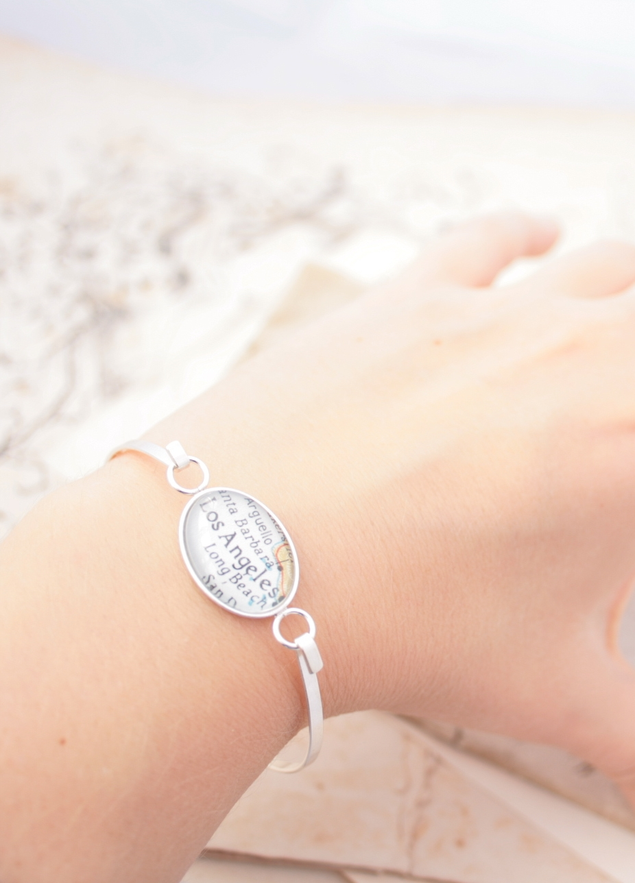 sterling bangle bracelet with custom map location - personalized jewellery  lovely gift for fianceé