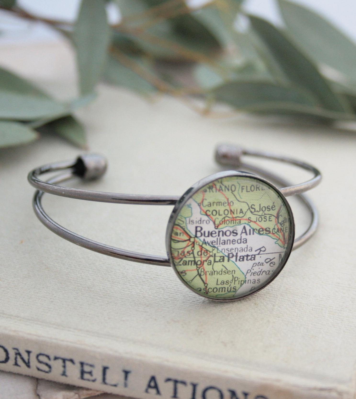 bangle bracelet with custom map location / personalized womens jewellery / adventure keepsake