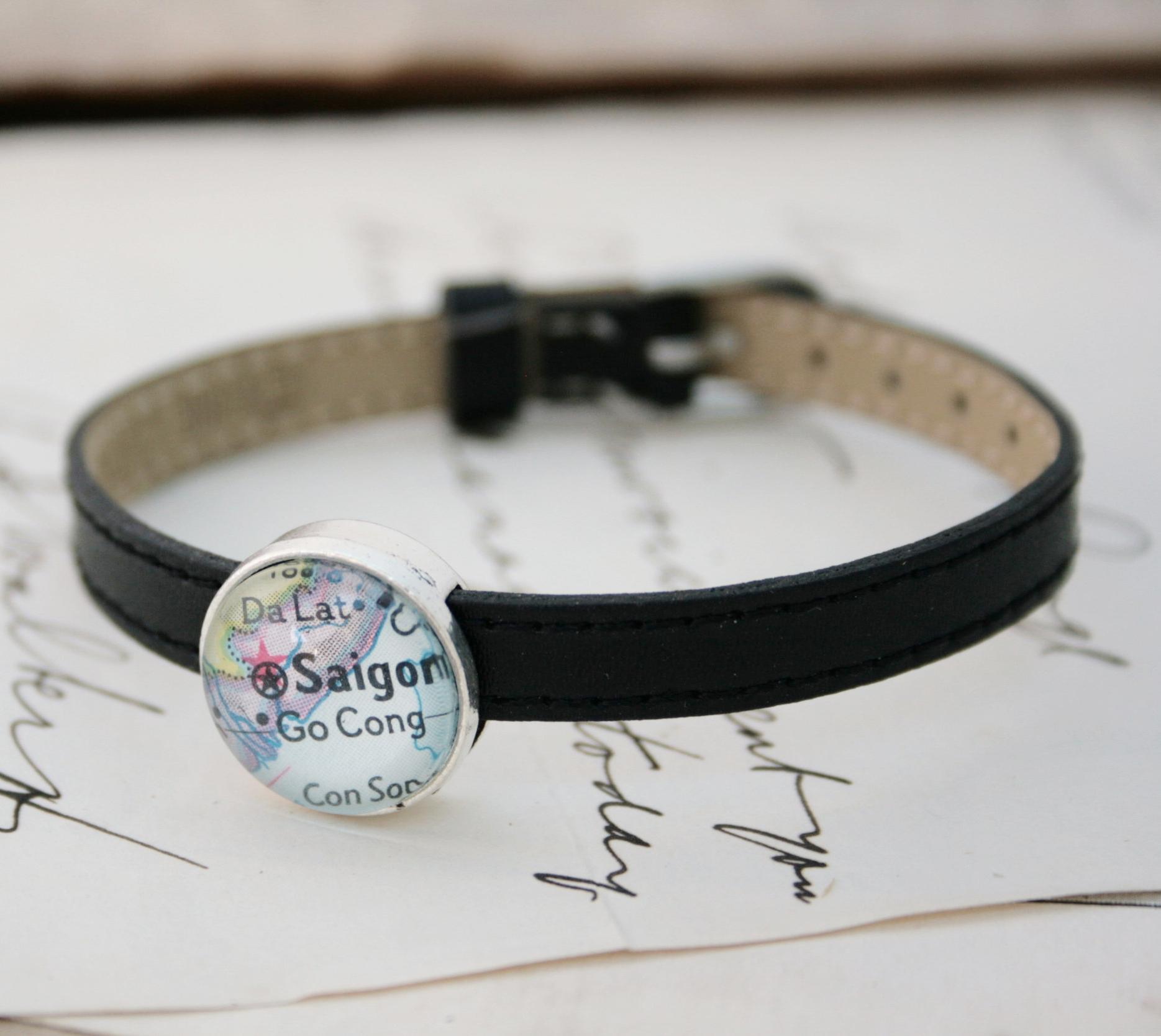 personalized map bracelet / lovely leather womens bracelet with personalized map bead - awesome travel keepsake