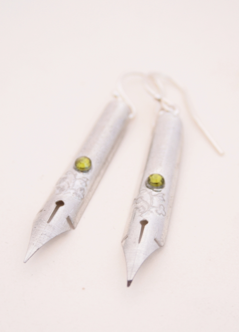fountain pen nib earrings for calligraphy lover with olivine crystals