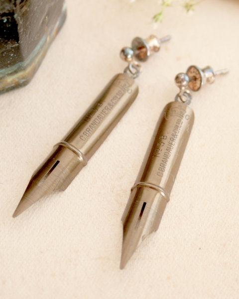 fountain pen nib earrings for writer or poet