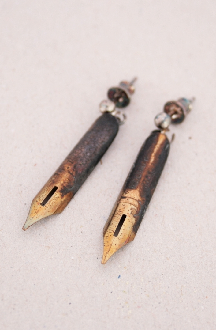 fountain pen nib earrings for extraordinary woman