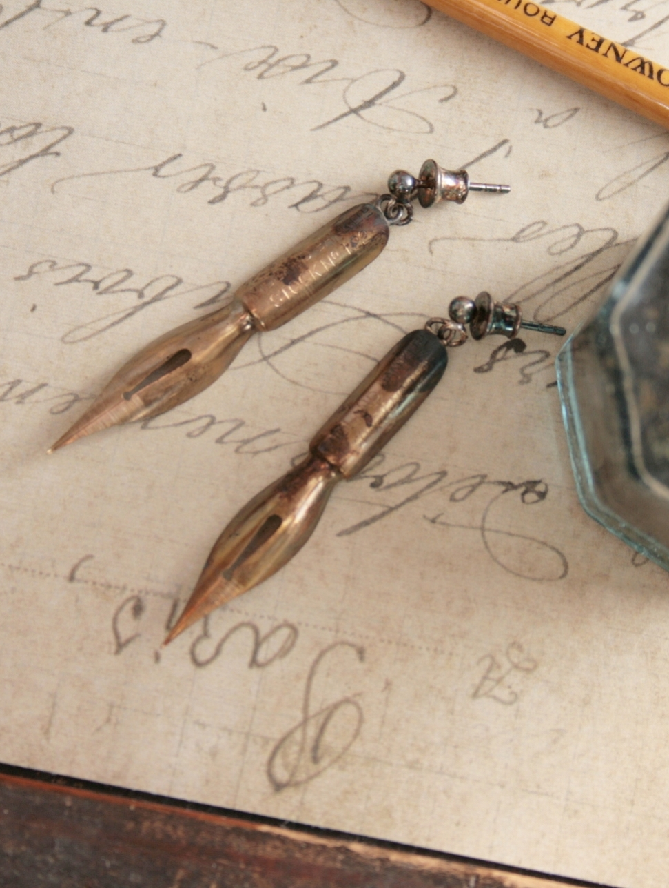 gold fountain pen nib earrings for calligraphy lover