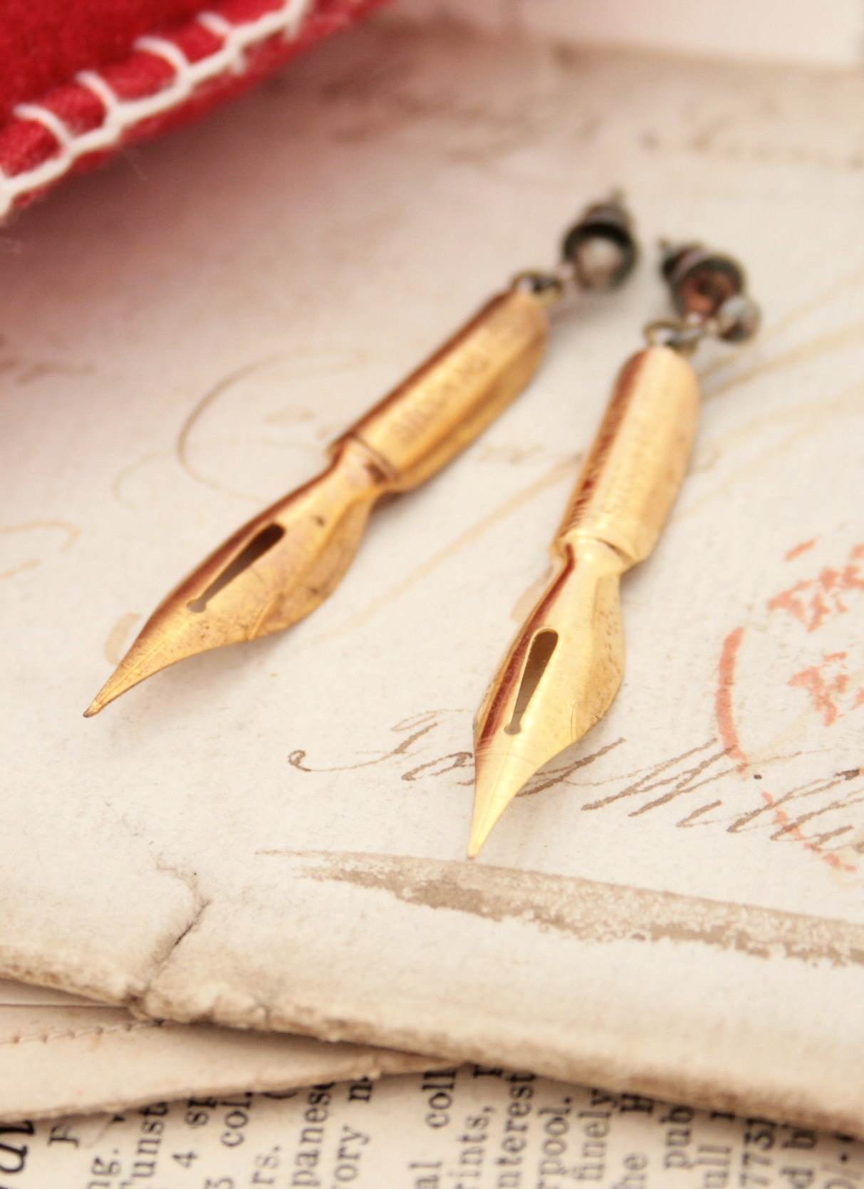 golden pen nib earrings for calligraphy lover