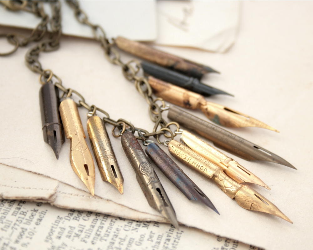 statement necklace made of antique fountain pen nibs