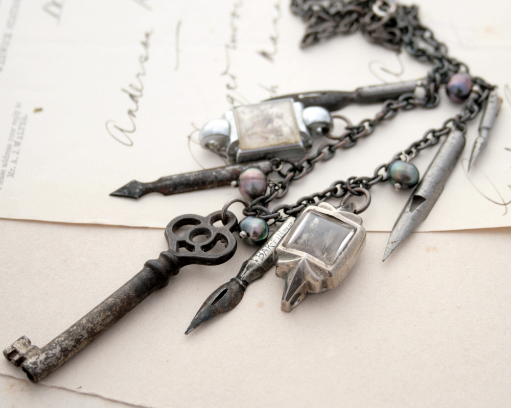 fountain pen nib statement necklace for calligraphy lover