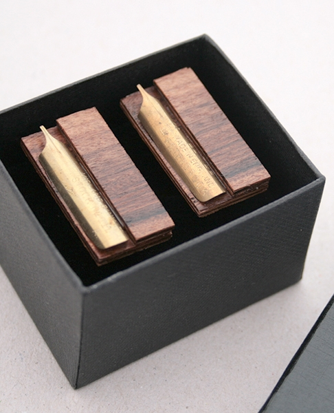 wooden cufflinks / palisander and fountain pen nib large cuff links