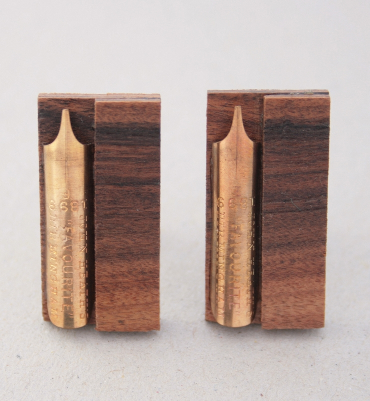 palisander cufflinks with antique fountain pen nib / wooden wedding anniversary gift for husband