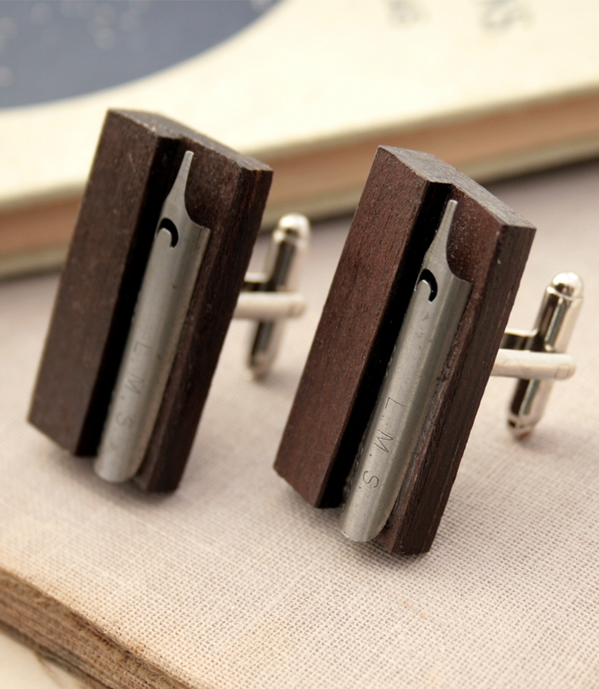 ebony cufflinks with antique fountain pen nibs