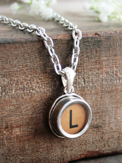brown initial pendant necklace made of authentic typewriter key letter