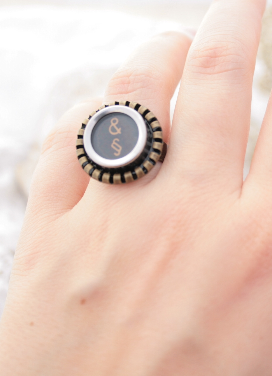 statement ring made of typewriter key