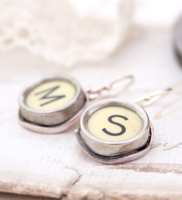 initial earrings / statement dangling earrings made of typewriter key in ivory tone