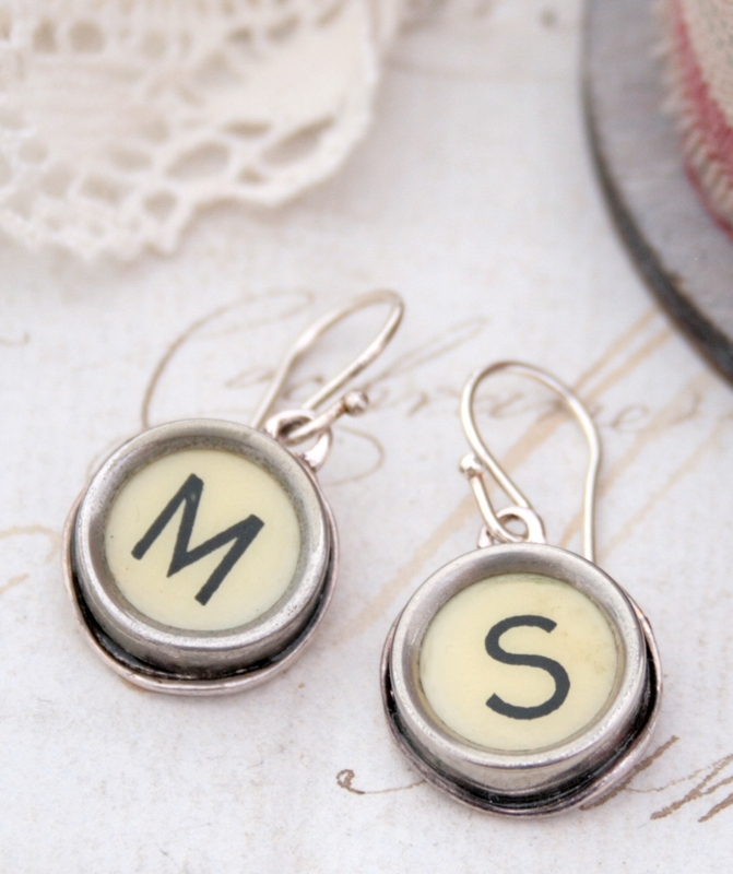initial earrings / statement dangling earrings made of typewriter key in ivory colour