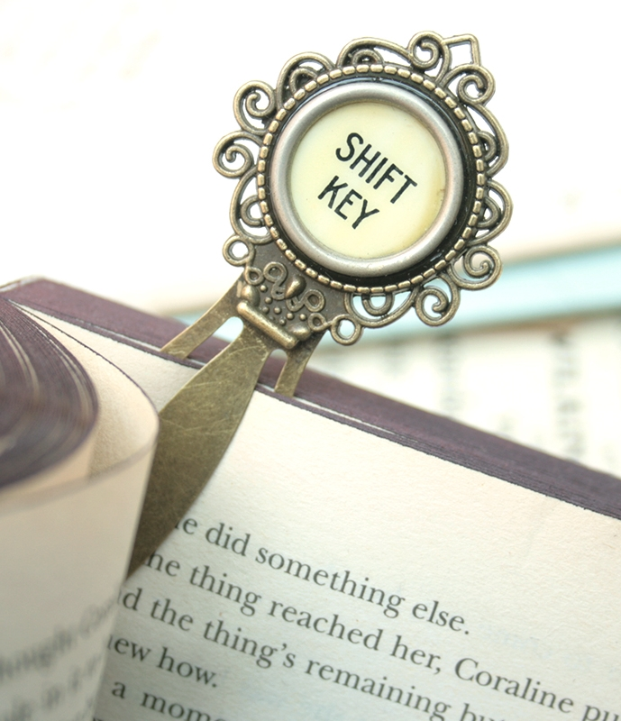 unique metal bookmark made of antique typewriter key / gift for avid reader