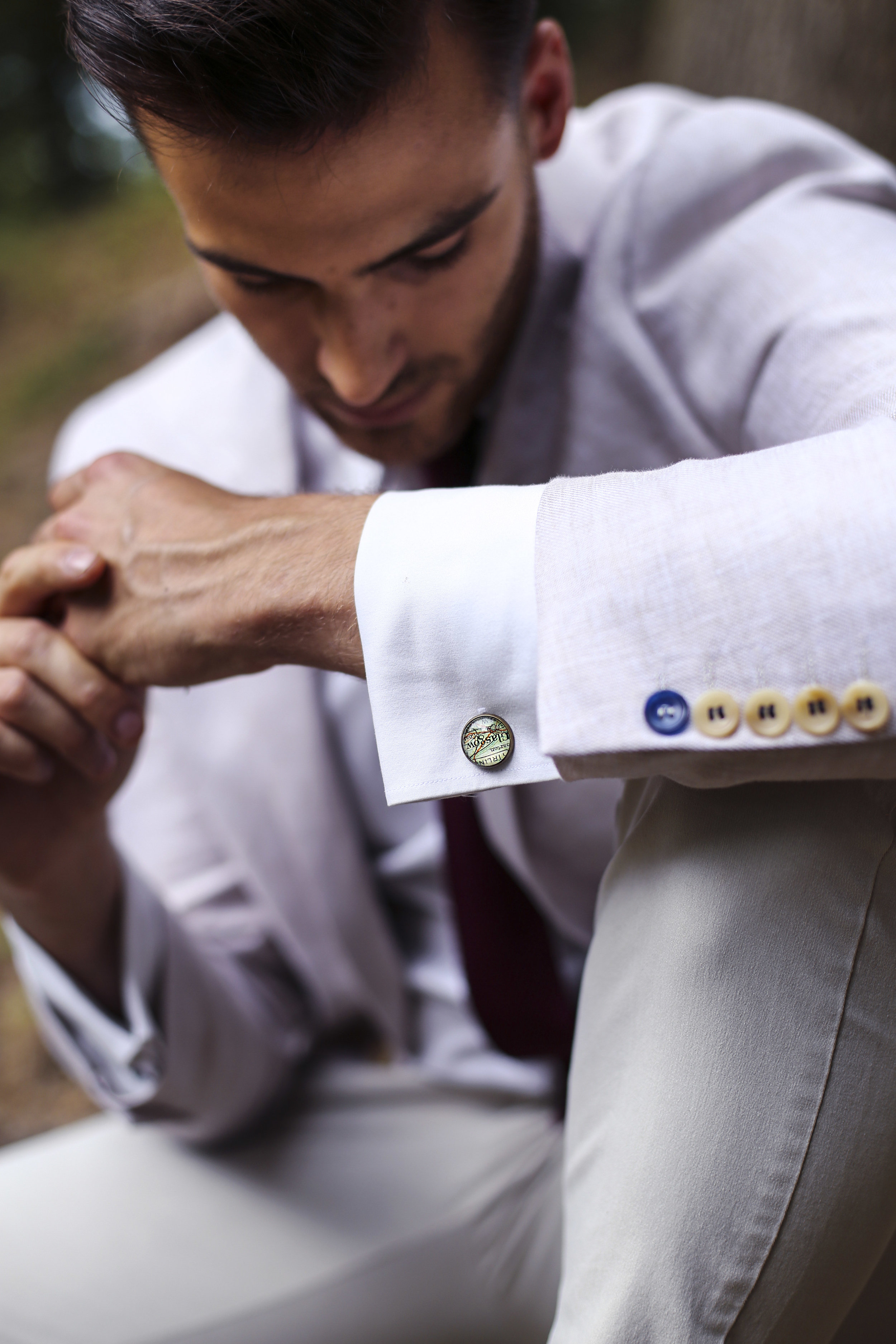 map cufflinks featuring maps of customers choice