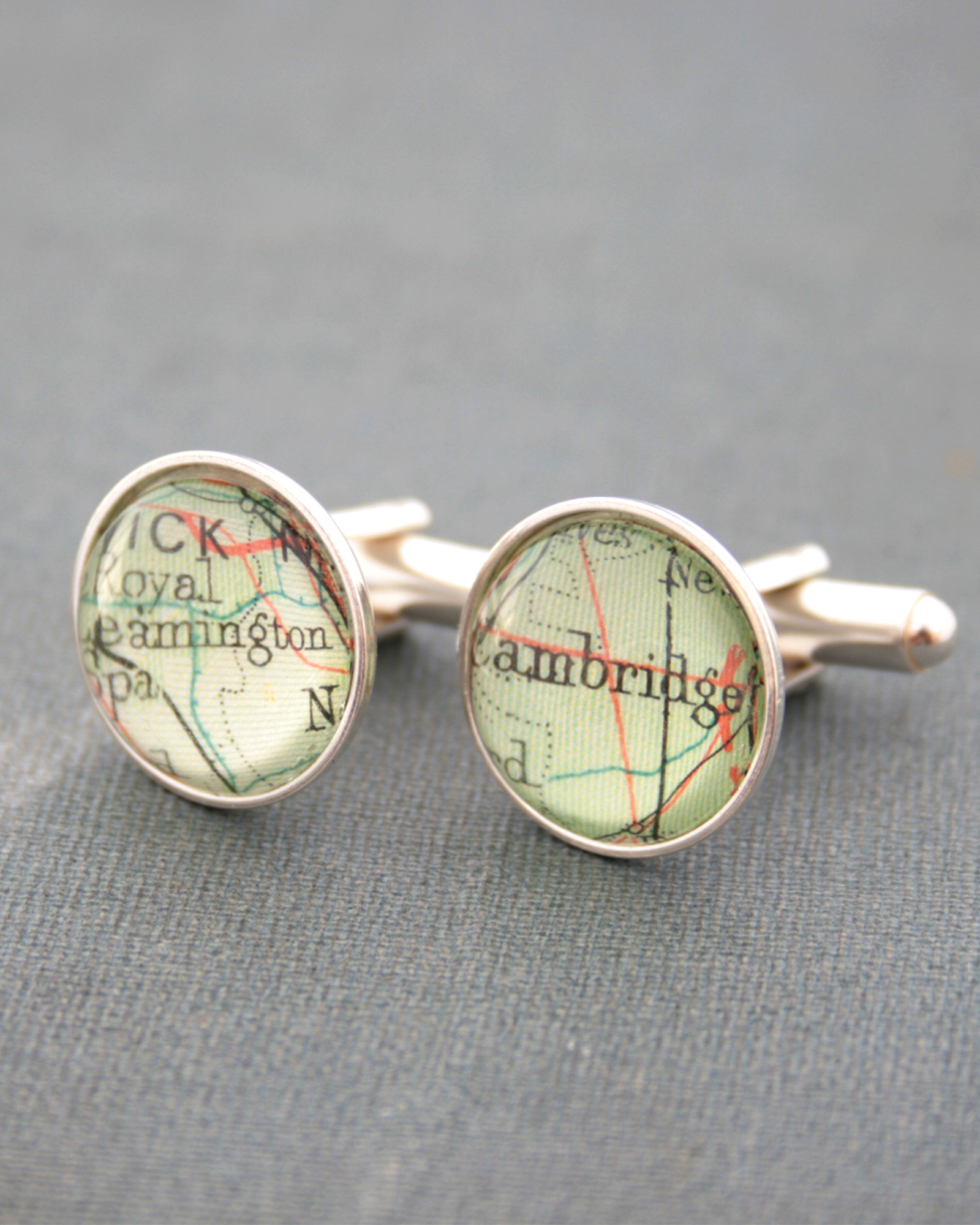 sterling cufflinks with custom map locations