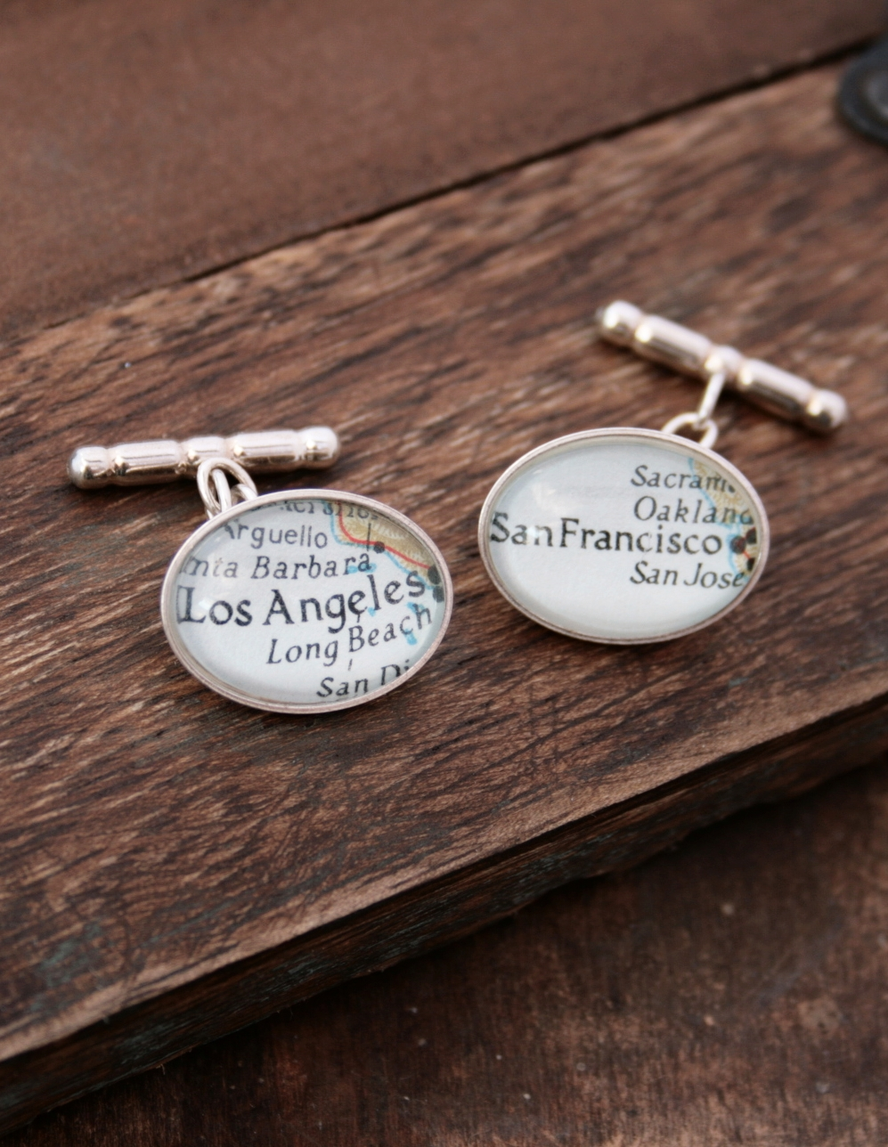 oval sterling cufflinks with custom map locations