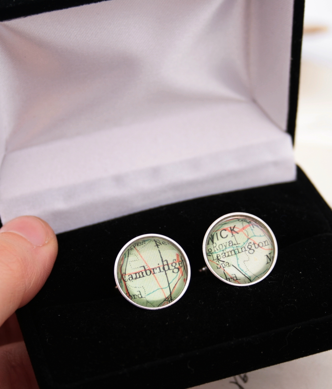 custom cufflinks with custom map locations in sterling silver