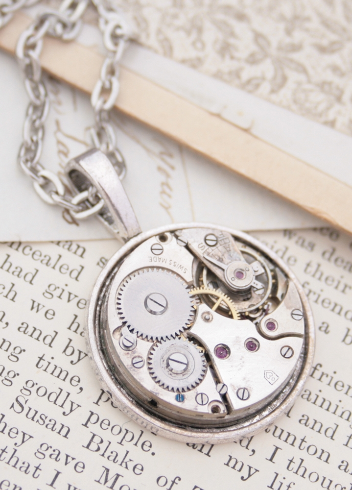 steampunk necklace made of watch movement
