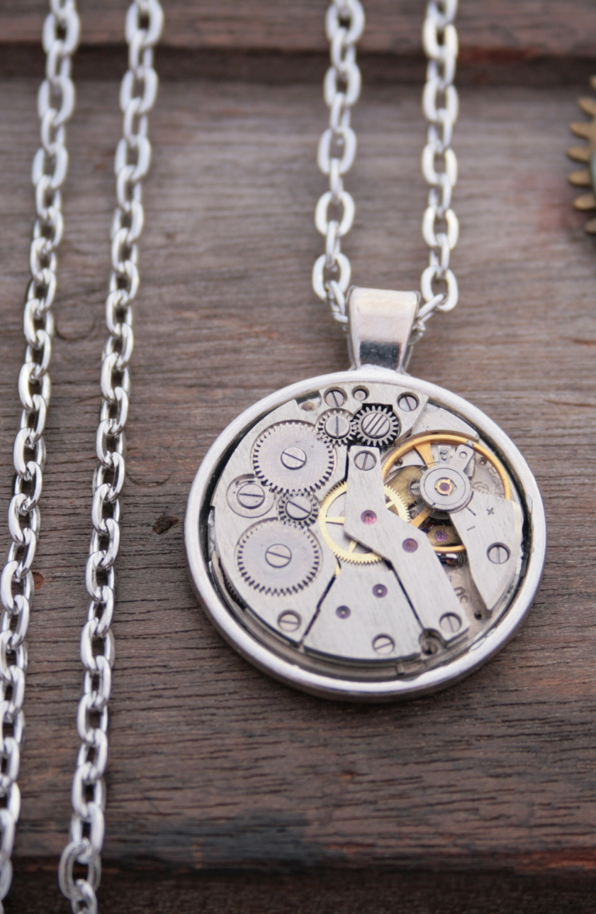 steampunk necklace for him / watch mechanism necklace