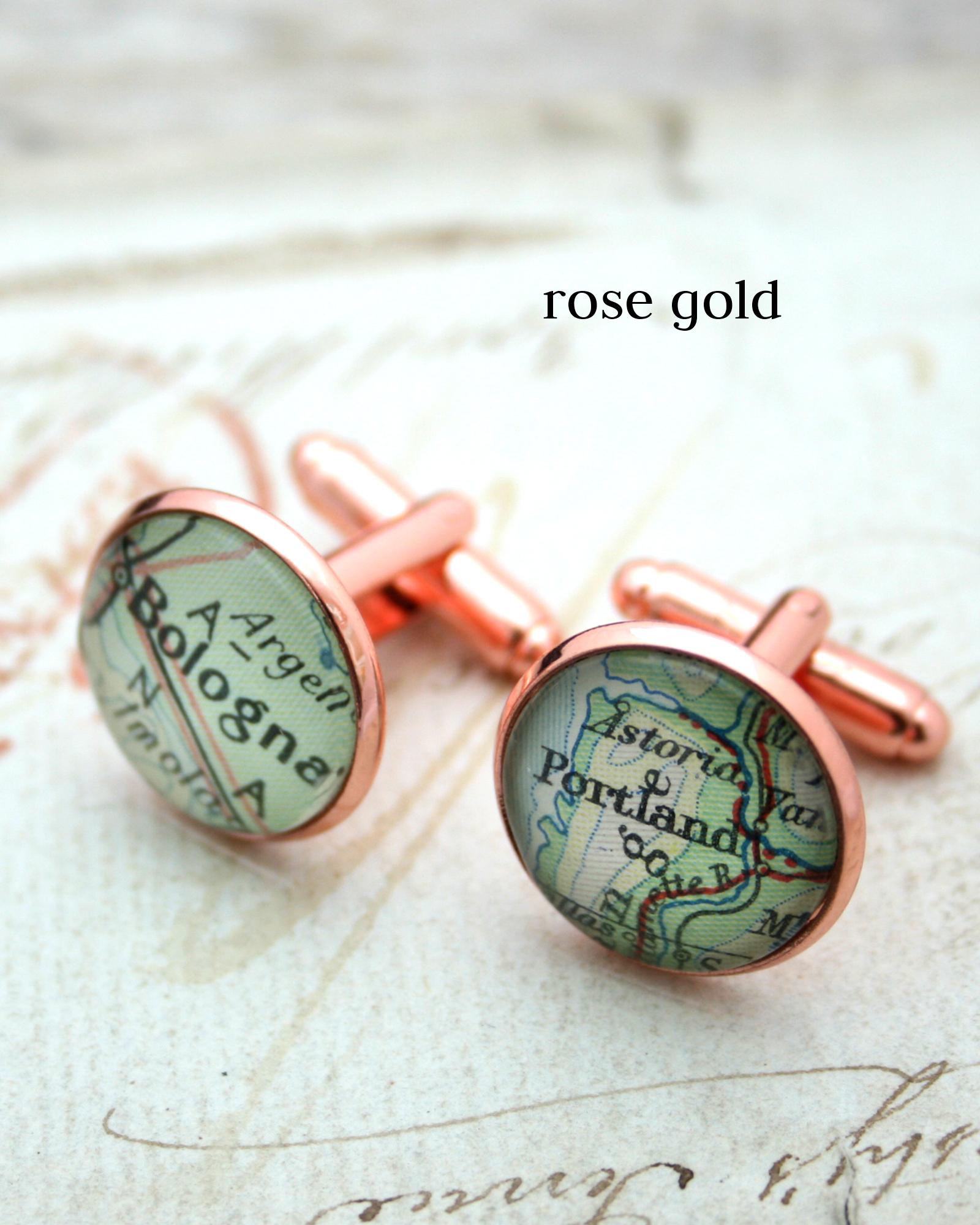 custom map cufflinks in rose gold colour