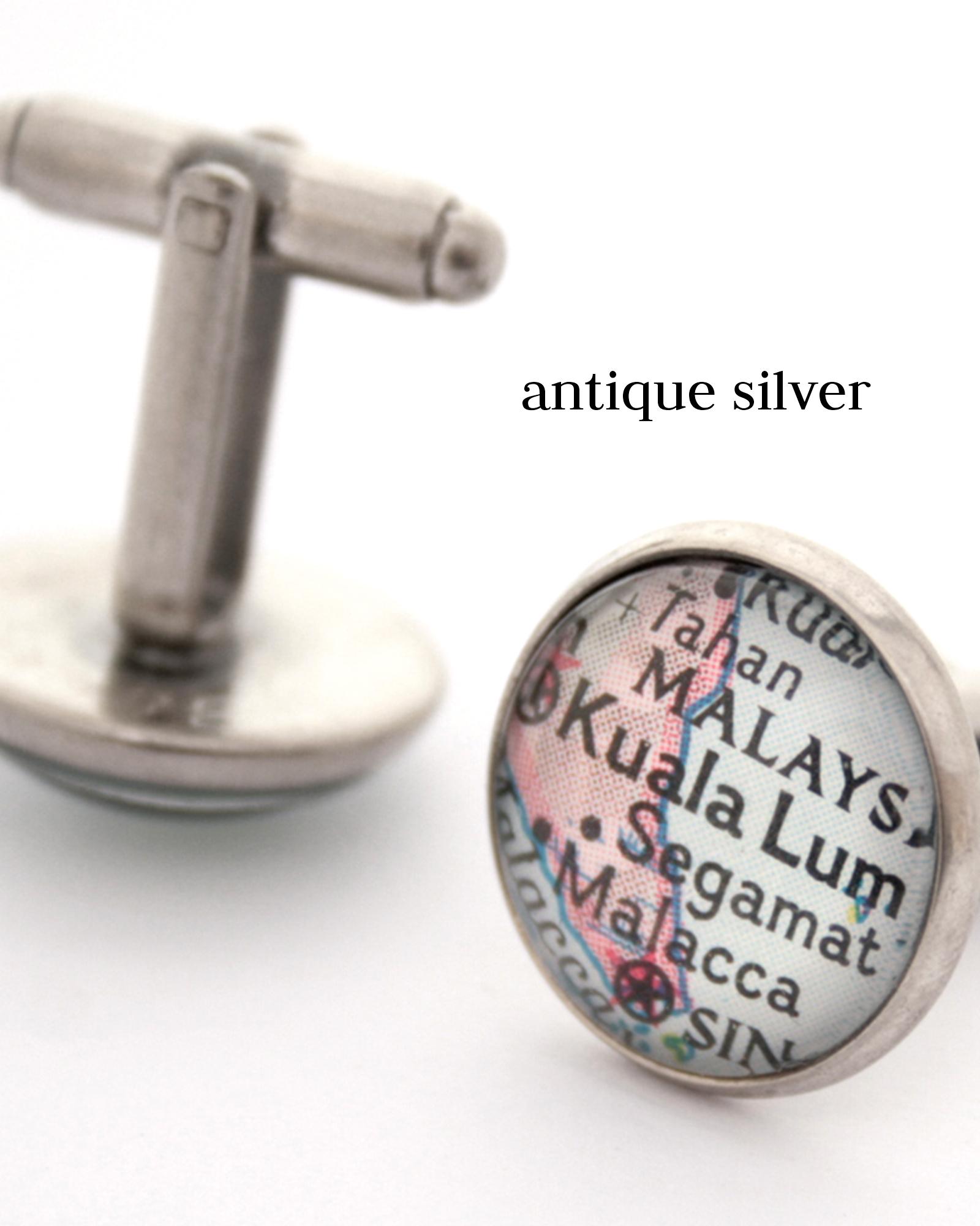 custom map cufflinks in antique silver colour