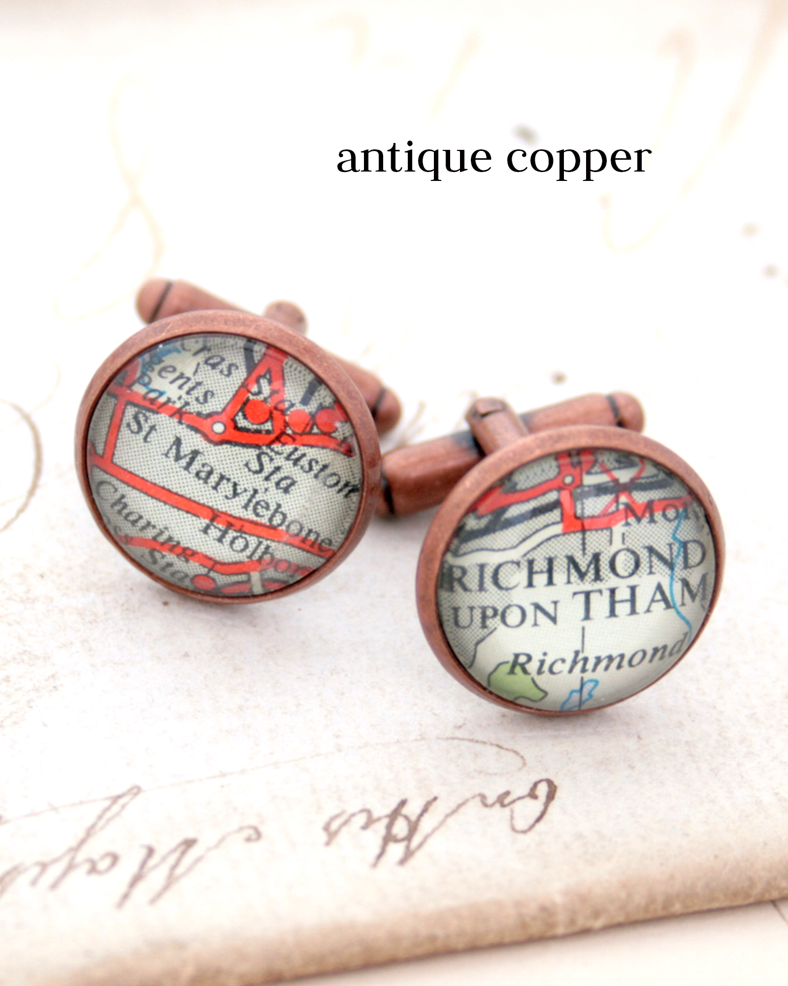 custom map cufflinks in antique copper colour