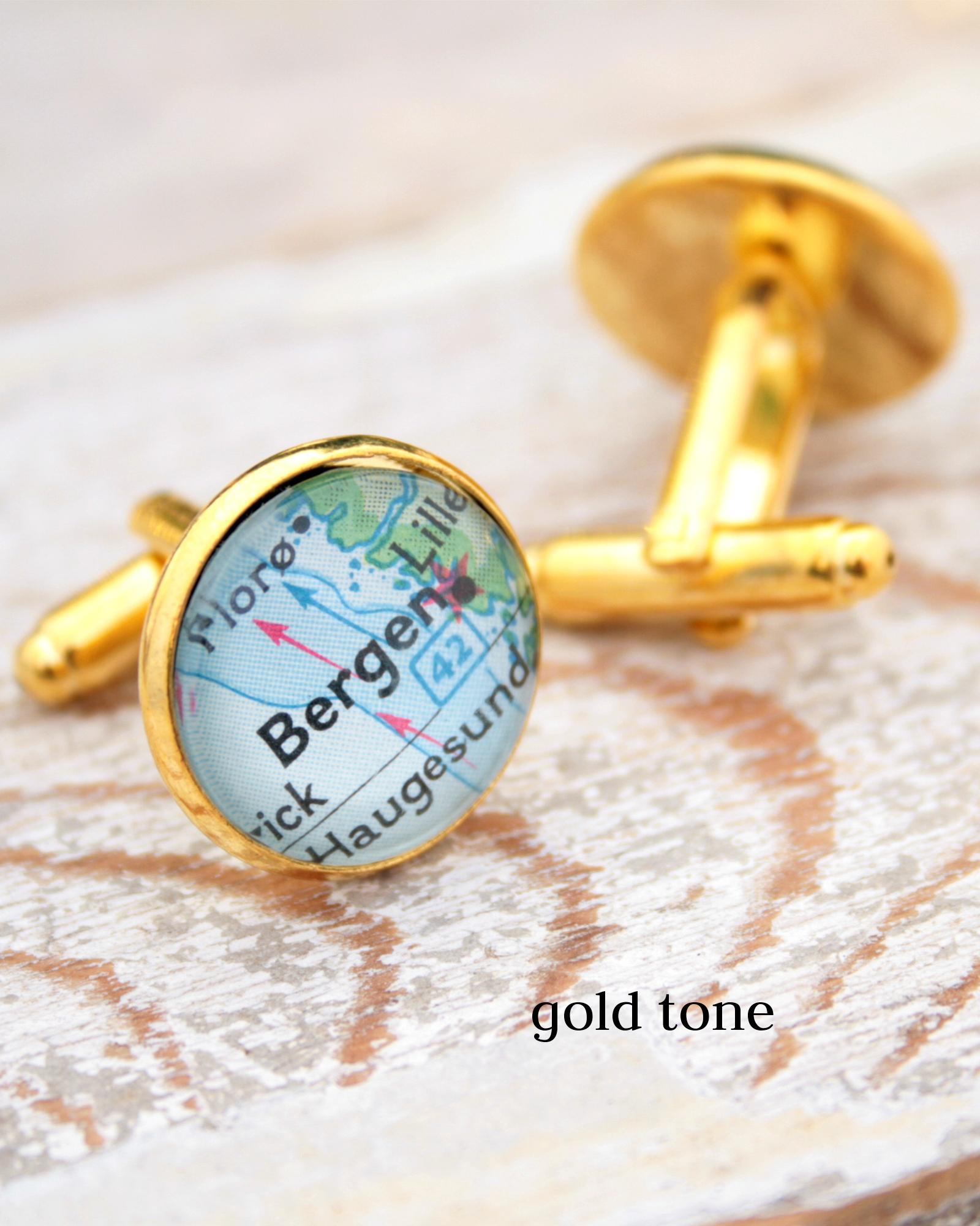 custom map cufflinks in golden colour