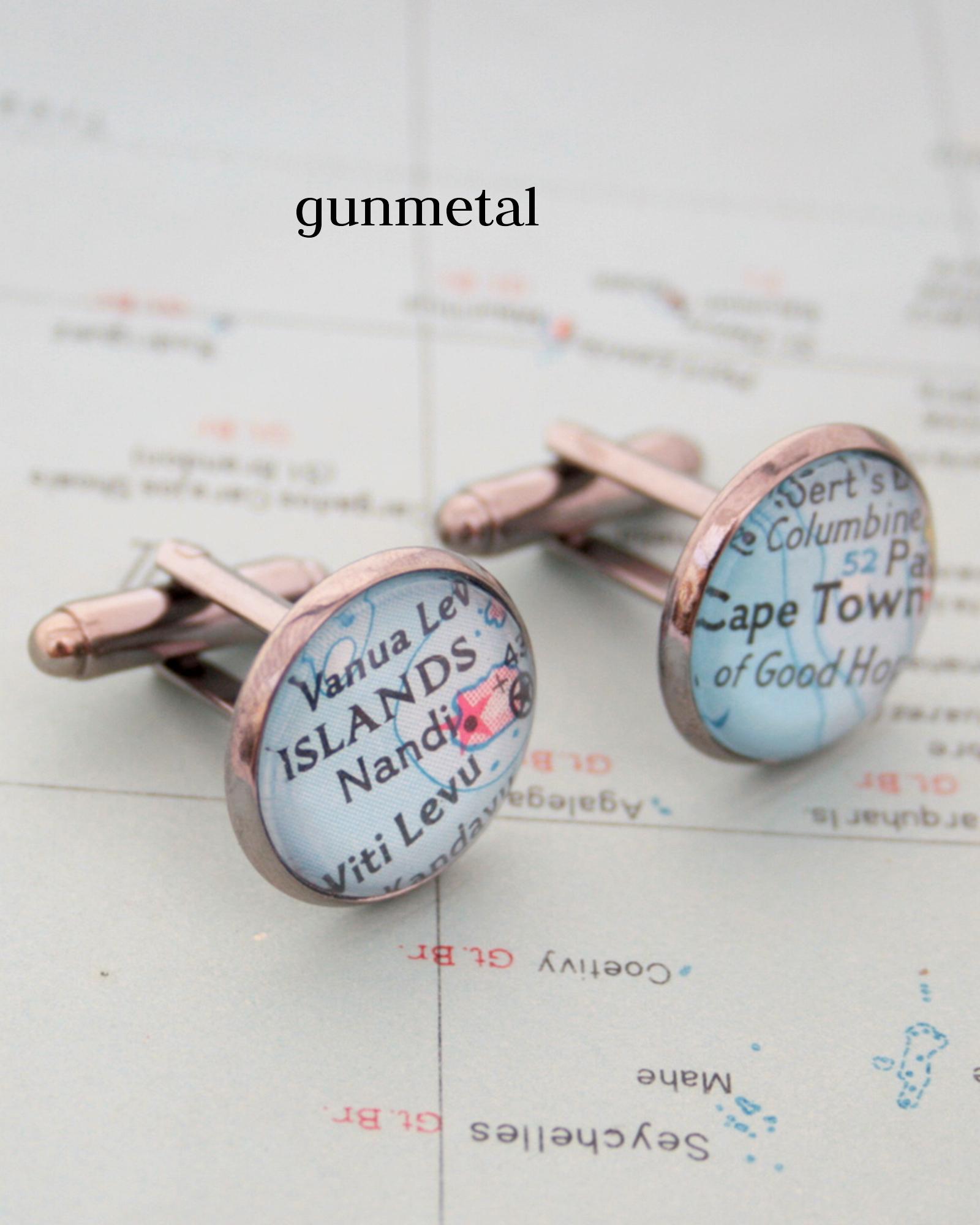custom map cufflinks in gunmetal black colour
