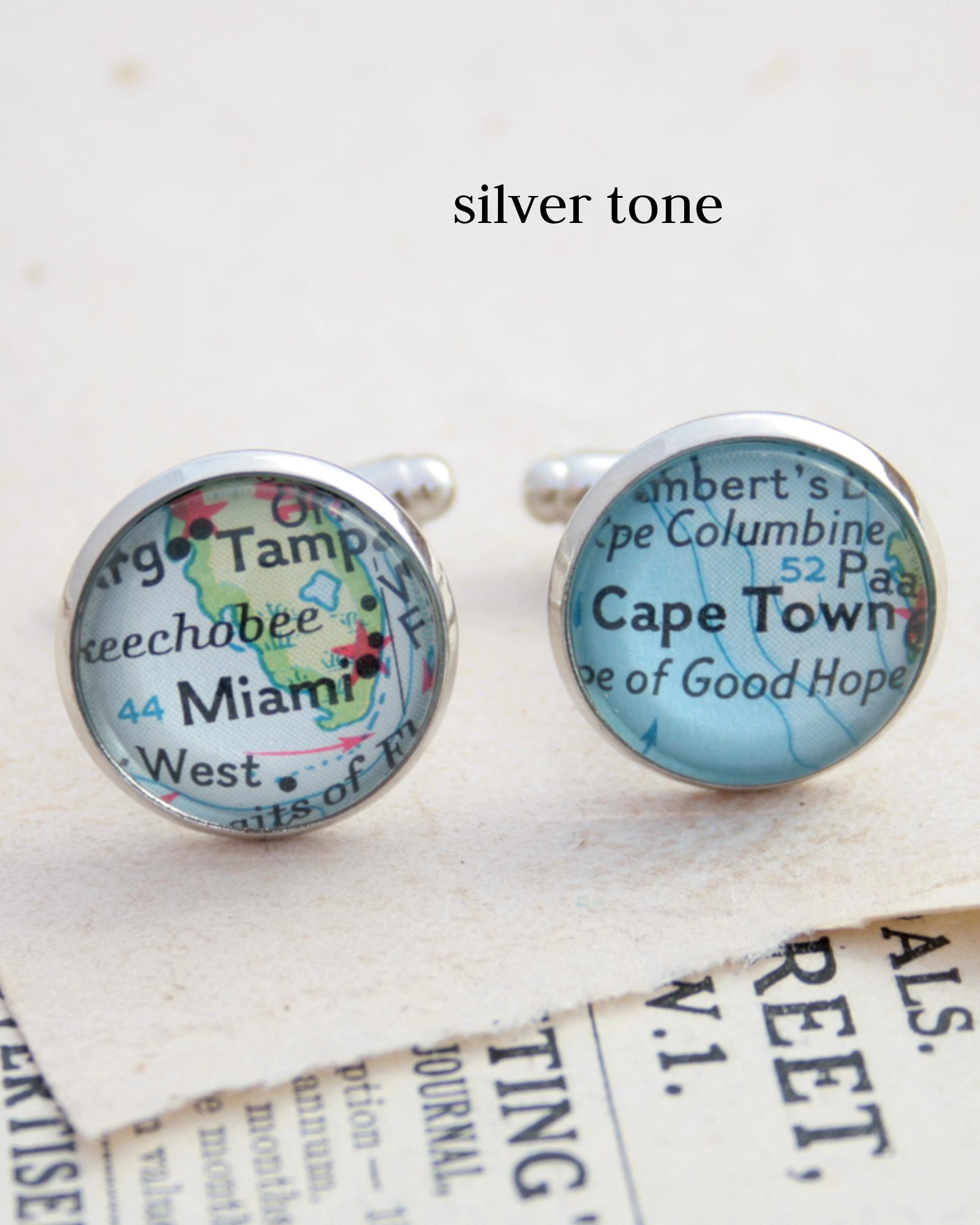 custom map cufflinks in silver colour