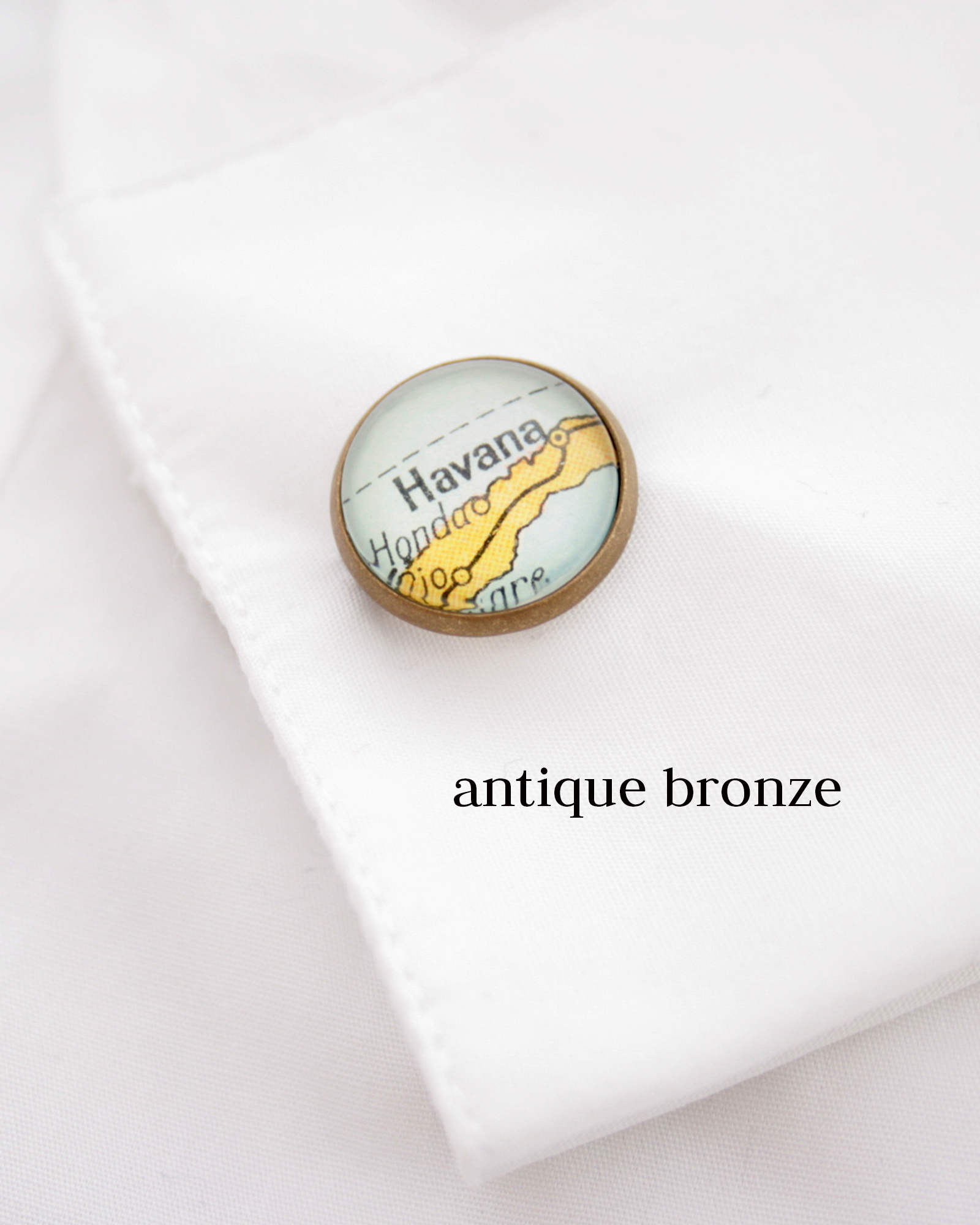 custom map cufflinks in antique bronze colour