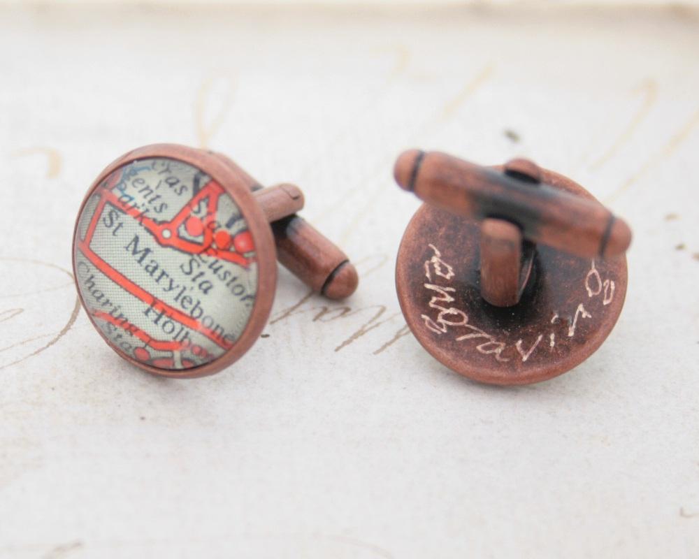 bespoke copper cufflinks with custom engraving