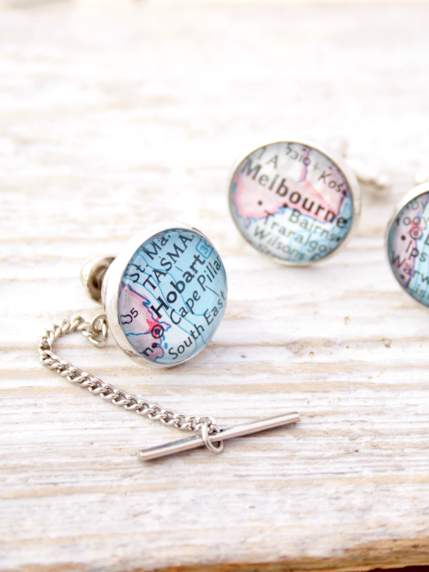 tie tack with custom map
