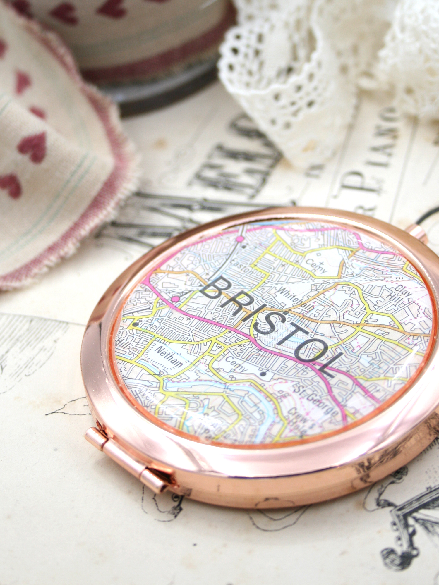 rose gold compact mirror bespoke gift for a sister