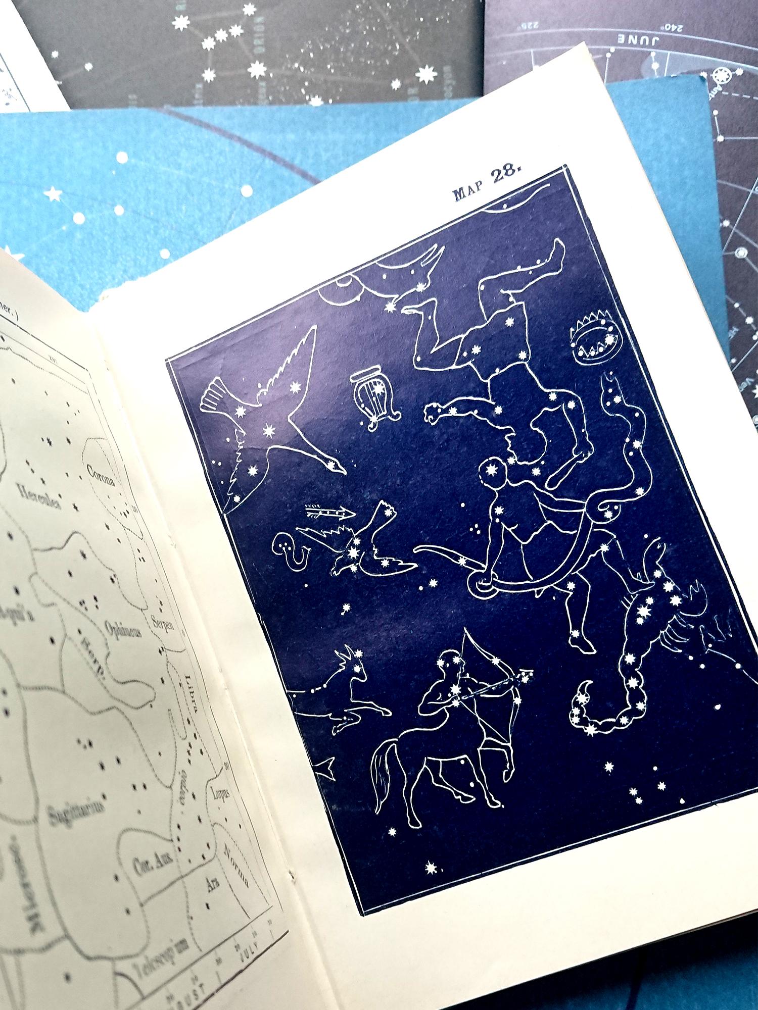 star constellations on heavens map