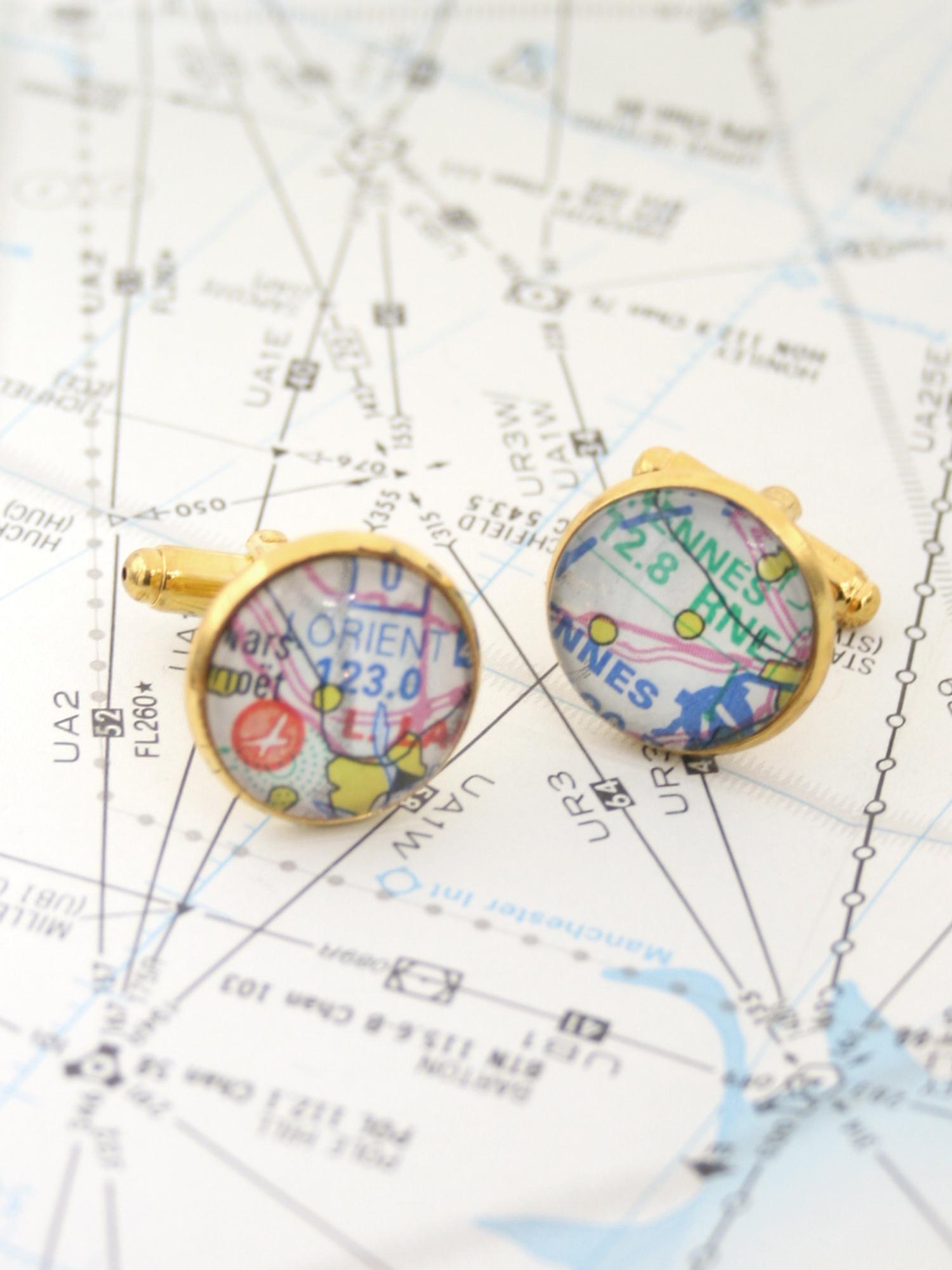 high altitude map cufflinks